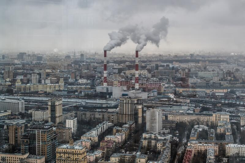 View of the capital of Russia Moscow in city center from the windows of Moscow City royalty free stock photos