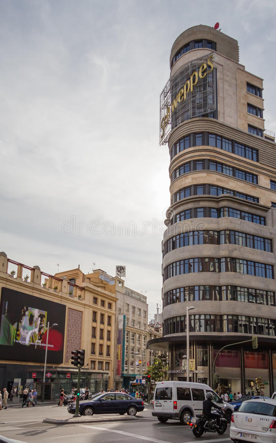View of Capitol building and Callao cinemas in Gran Via street, royalty free stock photo