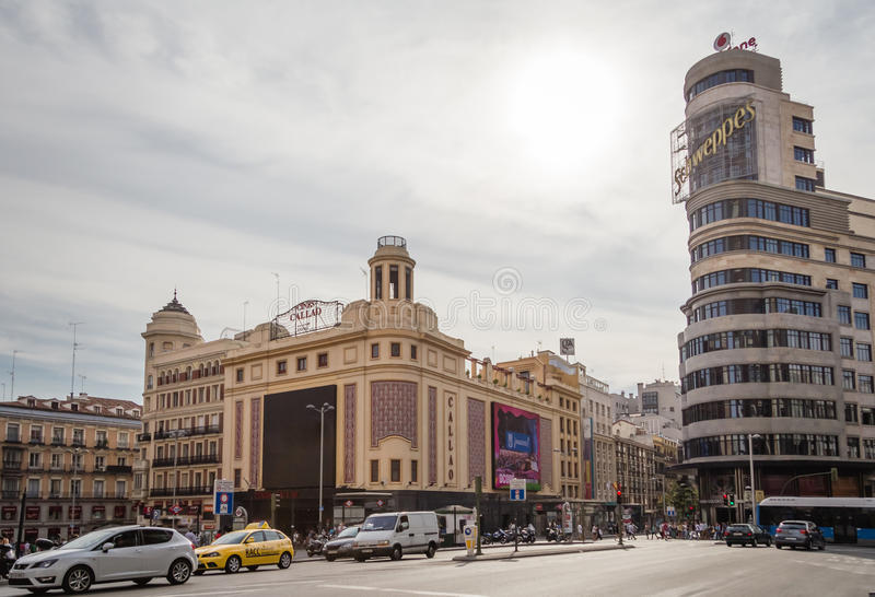 View of Capitol building and Callao cinemas in Gran Via street, stock images
