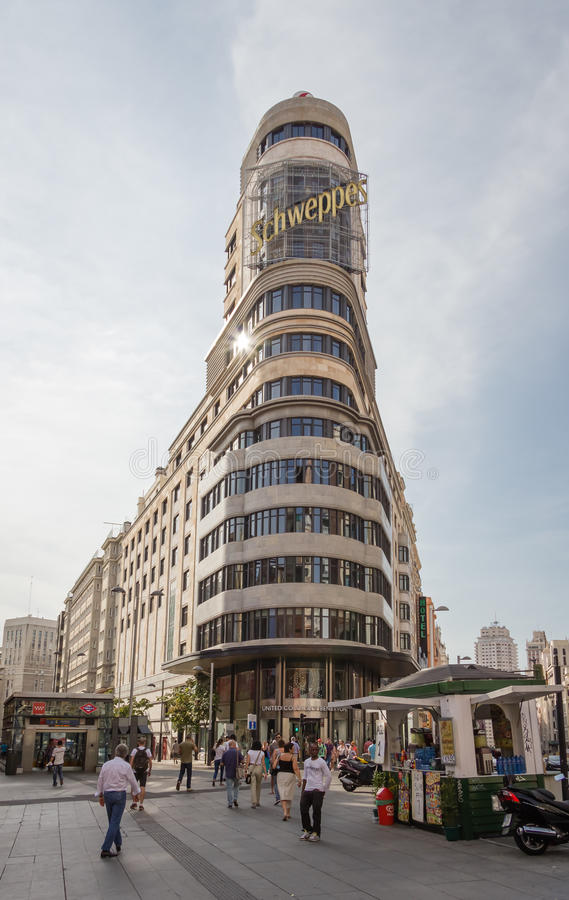 View of Capitol building in Gran Via street, in Madrid, Spain stock photography