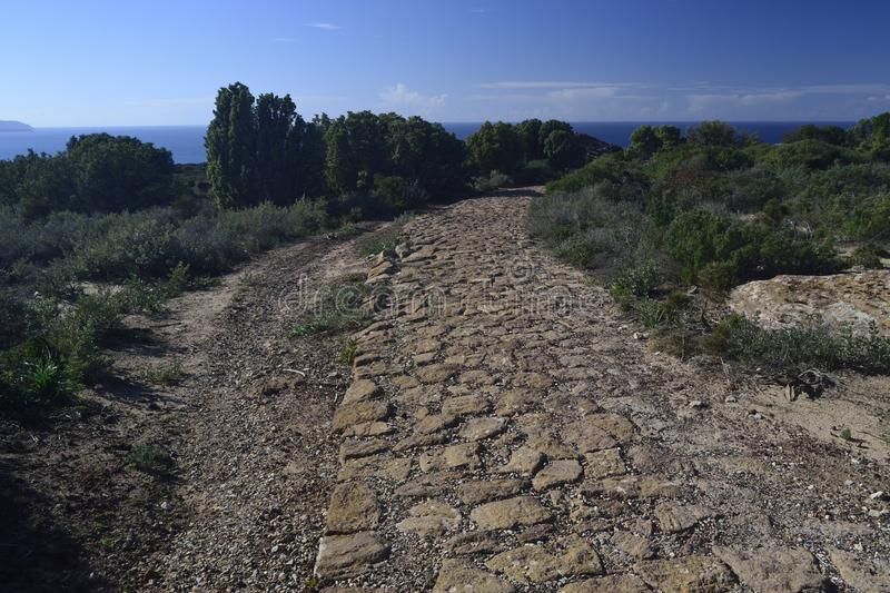 View of Capo Altano, Roman road. View of the Roman road of Capo Altano royalty free stock photography