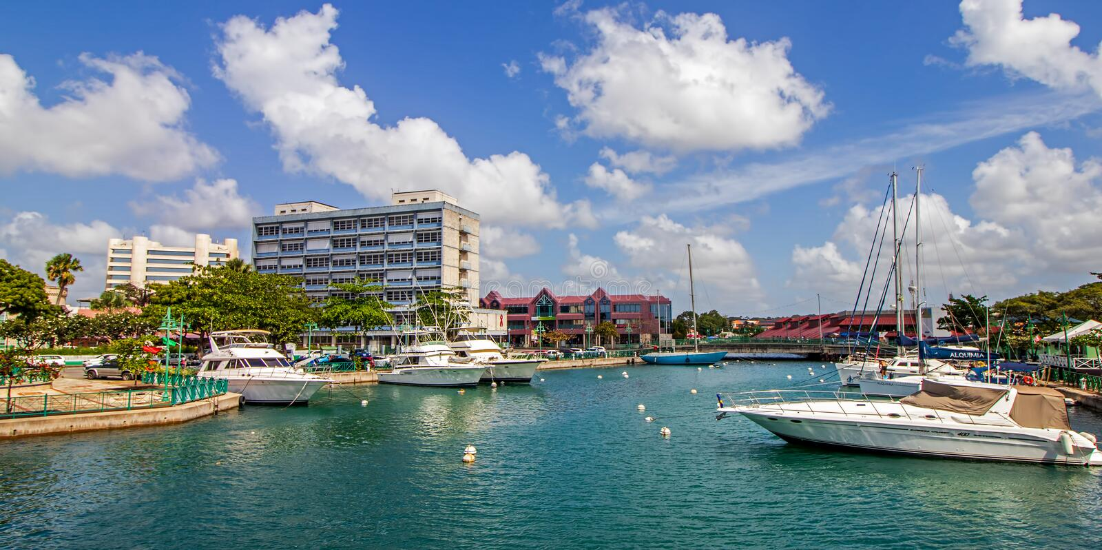 The Careenage in sunny Bridgetown, Barbados royalty free stock photography