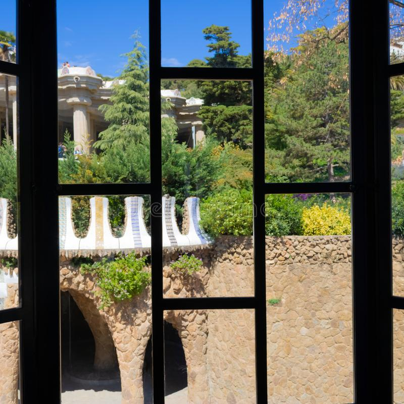 View from caretaker`s lodge barred window in Park Güell, Barcelona, Spain - Image stock photos