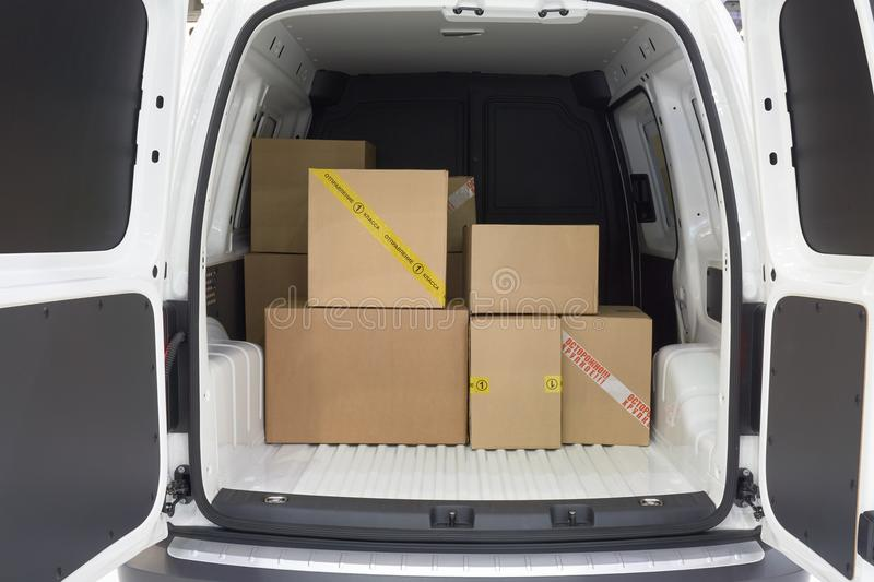 In the cargo area of the truck royalty free stock photos