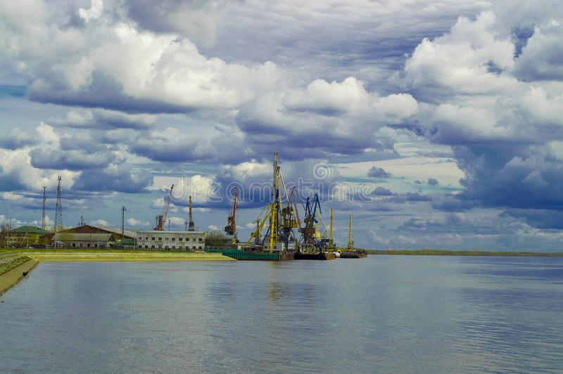 View of the cargo river port on the Ob River royalty free stock photo