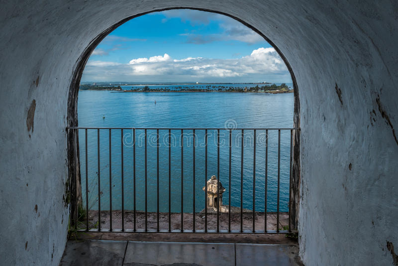 View of Caribbean from castle wall with gate. Arch opening in Castillo San Felipe del Morro wall looking into Caribbean Sea stock images