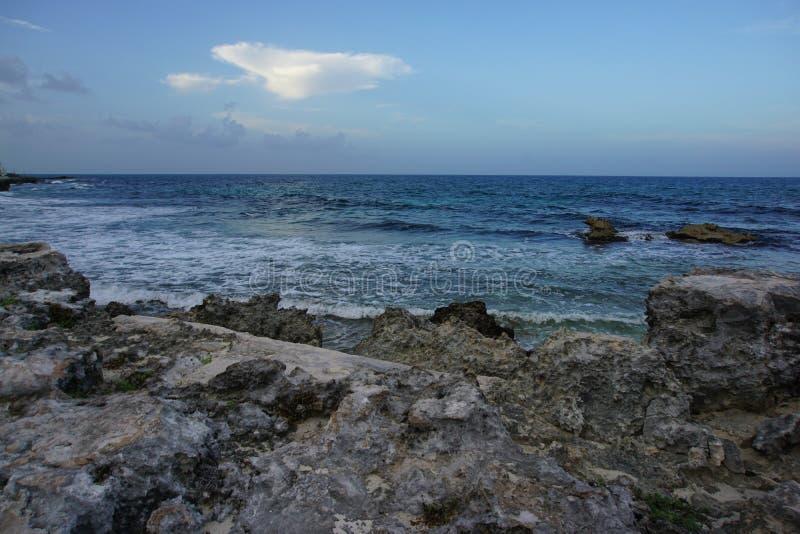 View on Caribbean sea at dusk, Playa Norte, Isla Mujeres royalty free stock images