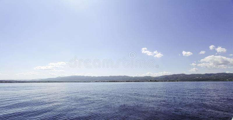 View of Caribbean Sea with Montego Bay, Jamaica in the baclground. royalty free stock images