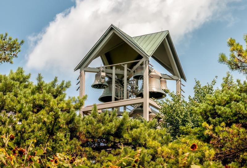 View of Carillon Bell Tower in the Chicago Botanic Garden, Glencoe, USA royalty free stock image