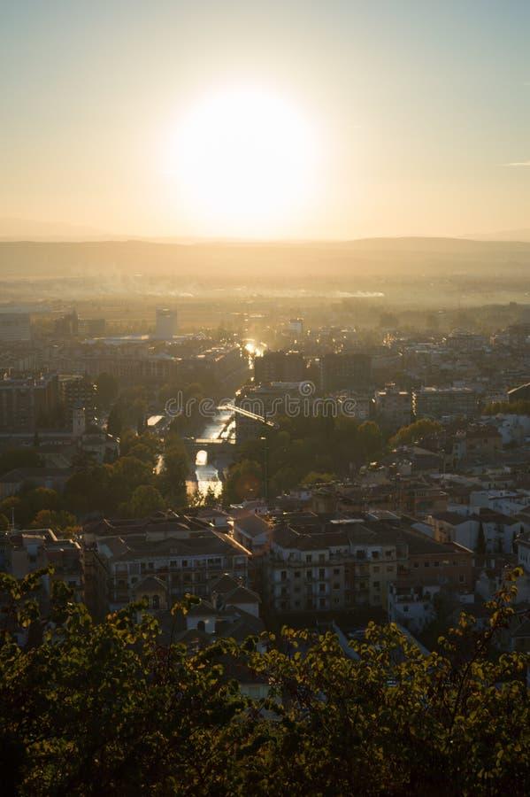 View from Carmen de los Martires Park over Granada, Genil River and Sierra Nevada, Spain stock photography
