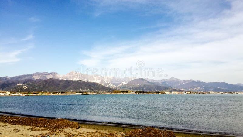 View of Carrara from Fiumaretta, La Spezia, Italy royalty free stock images