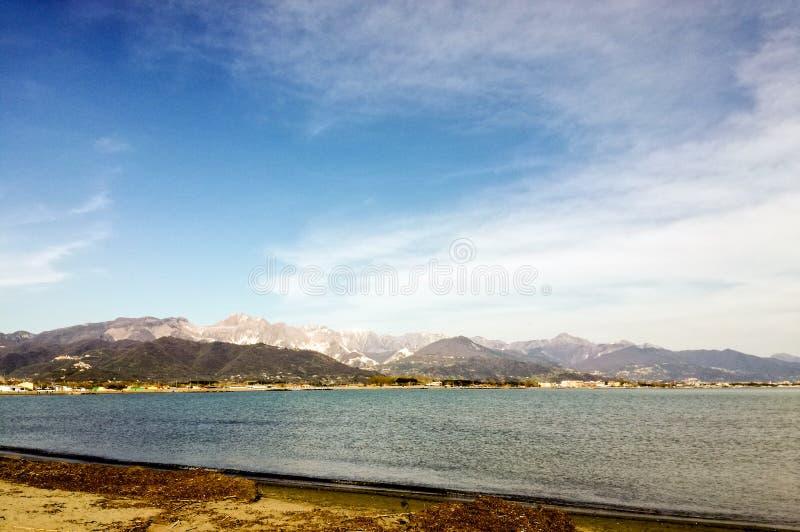 View of Carrara from Fiumaretta, La Spezia, Italy stock photography
