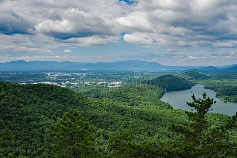A View of Carvins Cove and Roanoke-Blacksburg Regional Airport. From Tinker Ridge located in Botetourt County, Virginia, USA stock image