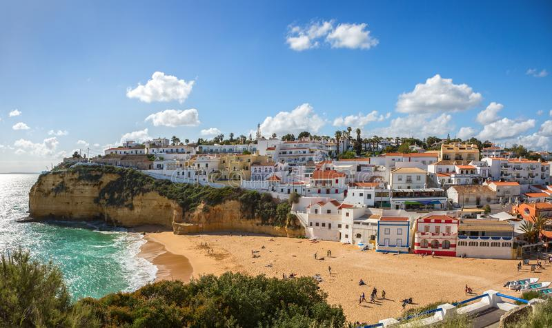 View of Carvoeiro at sunny spring day, Lagoa, Algarve, Portugal royalty free stock image