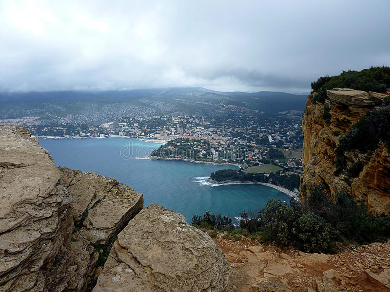 View of Cassis village from the mountain, France stock photo