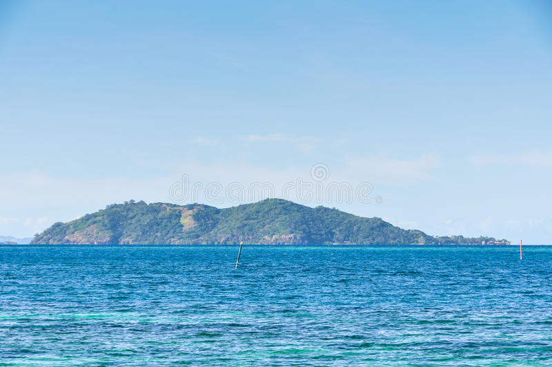 View of Castaway Island in Fiji. View of Castaway Island, the location of the Castaway movie with Tom Hanks in Fiji stock photography
