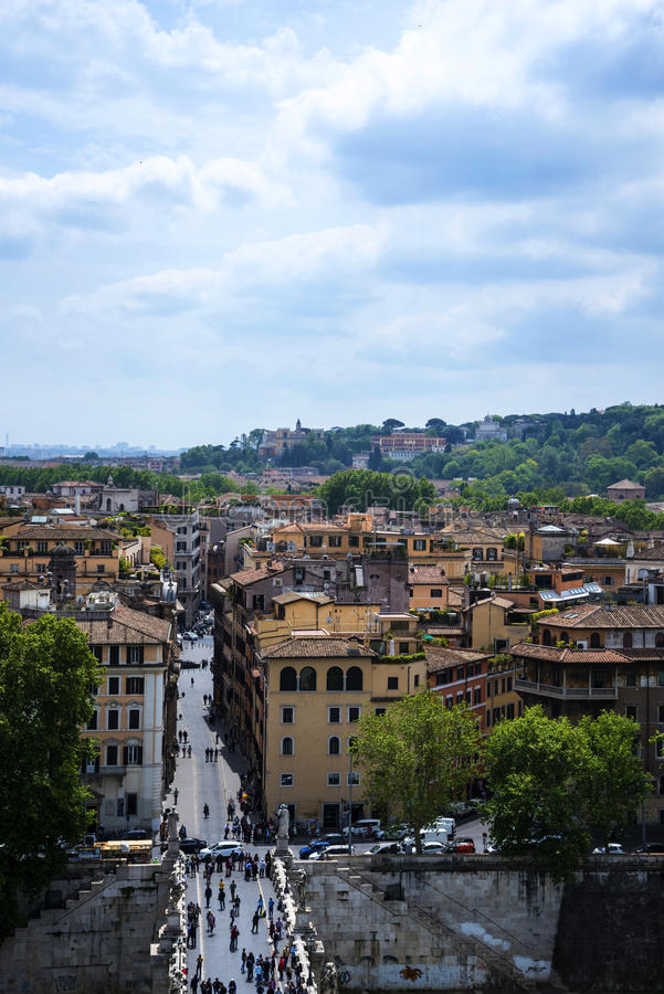 The View from the Castel Sant'Angelo by the River Tiber in Rome Italy royalty free stock photo