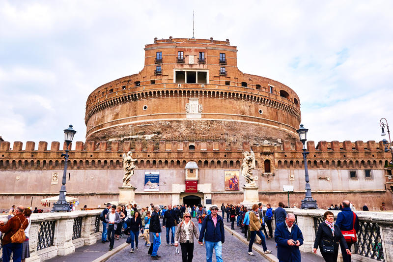 View of Castel Sant'Angelo, museum in Rome, from bridge Ponte Sant'Angelo in Rome royalty free stock image