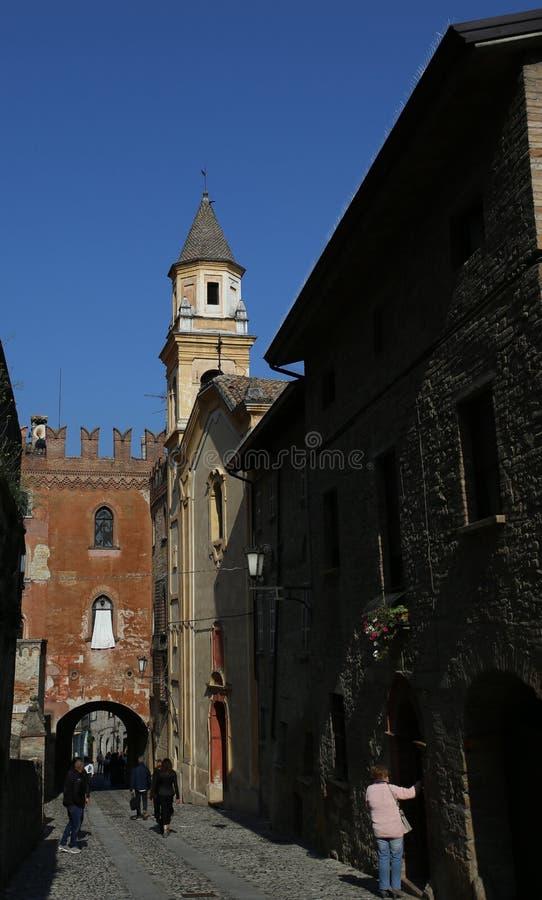 View of castell arquato. Castell Arquato, Italy - October 14, 2018: view of castell arquato, a beautiful town in Italy stock photos