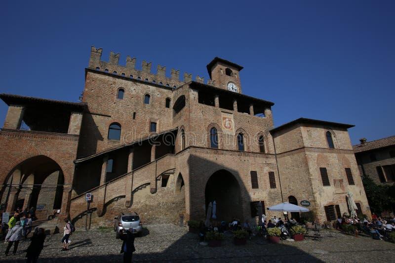 View of castell arquato. Castell Arquato, Italy - October 14, 2018: view of castell arquato, a beautiful town in Italy royalty free stock photography
