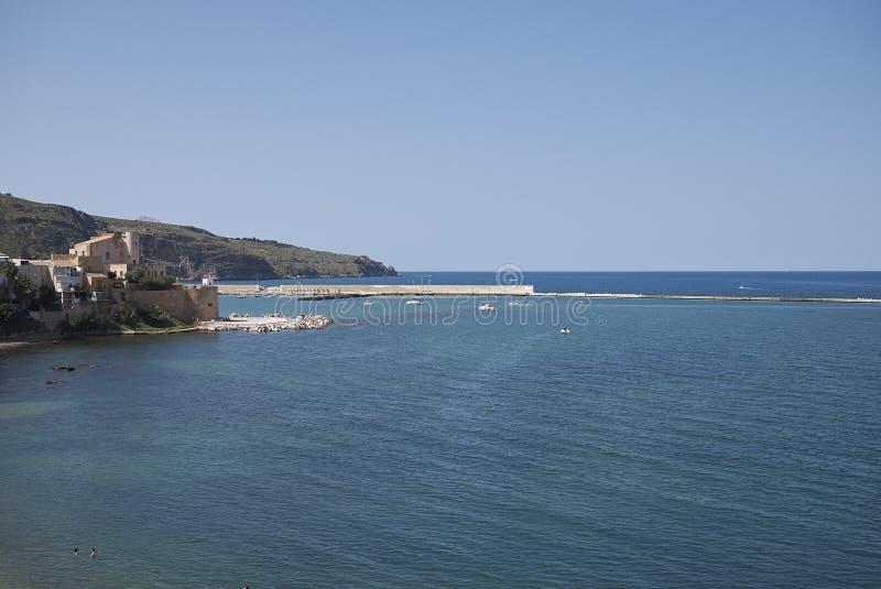 View of Castellammare del Golfo pier. Castellammare del Golfo, Italy - September 04, 2018 : Castellammare del Golfo pier royalty free stock image