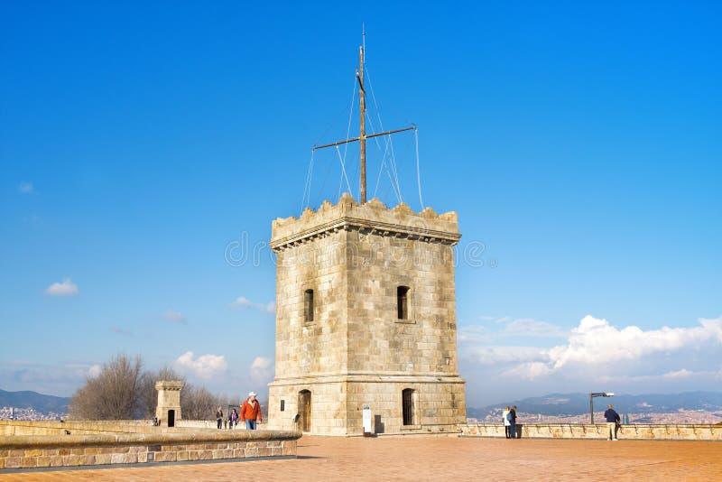 View of Castillo de Montjuic on mountain Montjuic in Barcelona, Spain royalty free stock photo