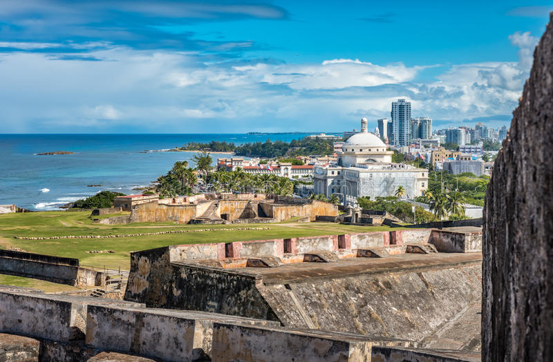View from Castillo de San Cristobal toward town. With view of the Captial building and ocean front royalty free stock image