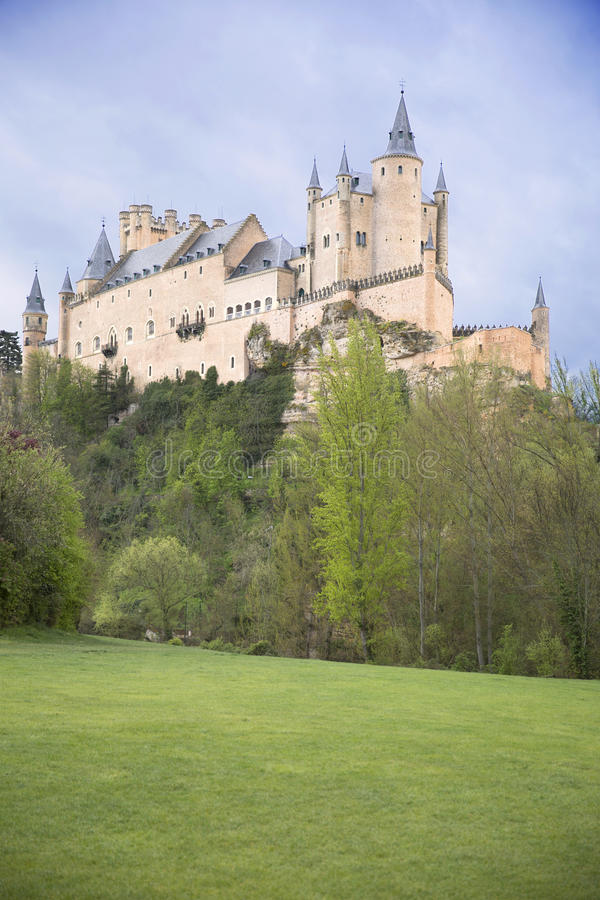 View of Castle Alcazar of Segovia in Castille and Leon, Spain royalty free stock images