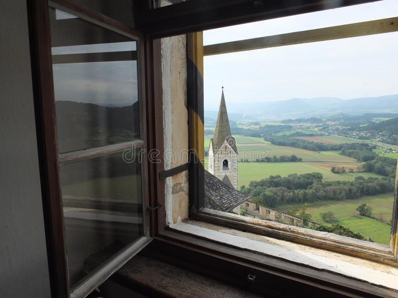View from the castle. Austrian countryside as seen from Hochosterwitz Castle royalty free stock image