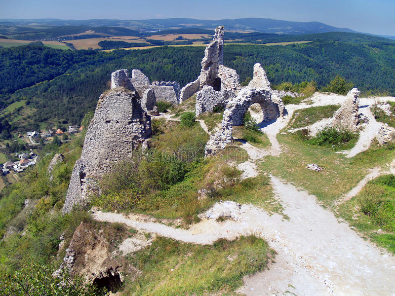 View from The Castle of Cachtice royalty free stock image