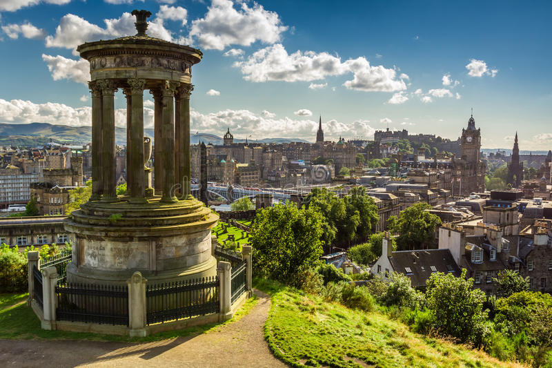 View of the castle from Calton Hill in sunny day stock images