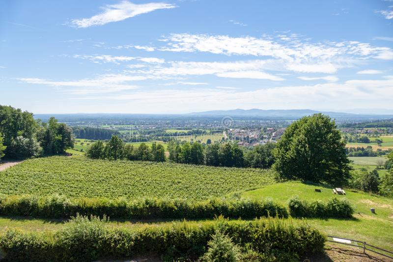 View from Castle Hochburg at Emmendingen. An image of a view from Castle Hochburg at Emmendingen Germany stock image