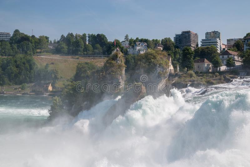 View from castle Laufen on Rhine Falls is the largest waterfall in Schaffhaus. En, Switzerland. Summer landscape, sunshine weather, blue sky and sunny day royalty free stock image