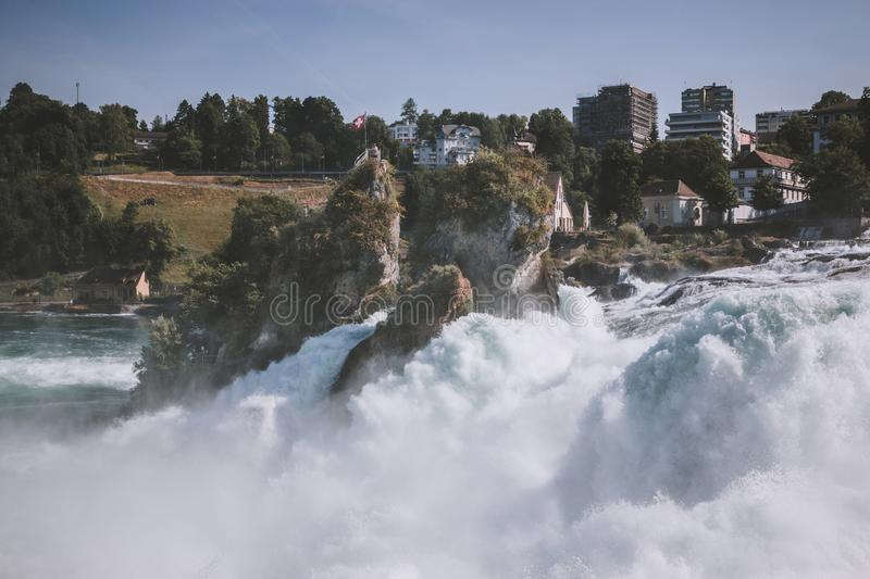View from castle Laufen on Rhine Falls is the largest waterfall in Schaffhaus. En, Switzerland. Summer landscape, sunshine weather, blue sky and sunny day stock photos