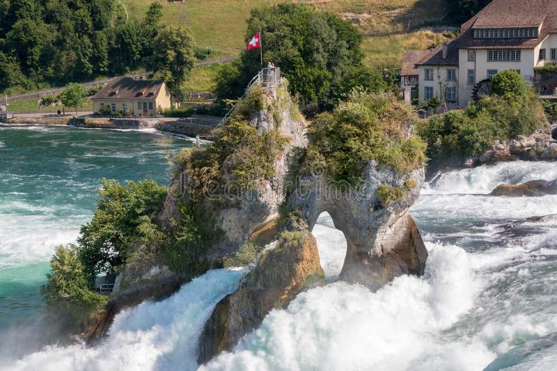 View from castle Laufen on Rhine Falls is the largest waterfall in Schaffhaus. En, Switzerland. Summer landscape, sunshine weather, blue sky and sunny day royalty free stock photography