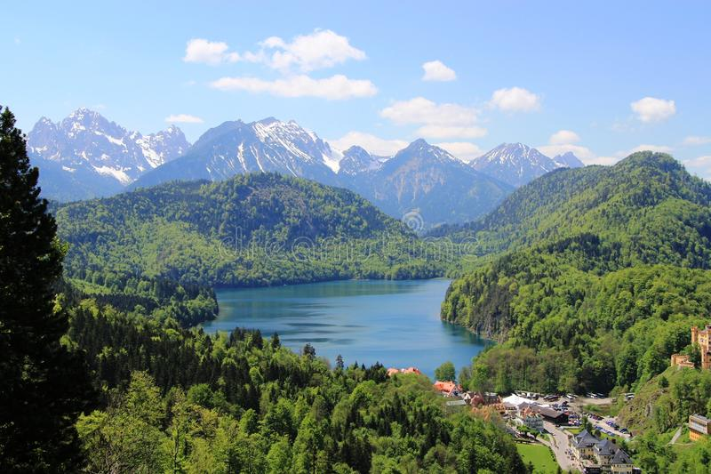View from the castle Neuschwanstein royalty free stock photo