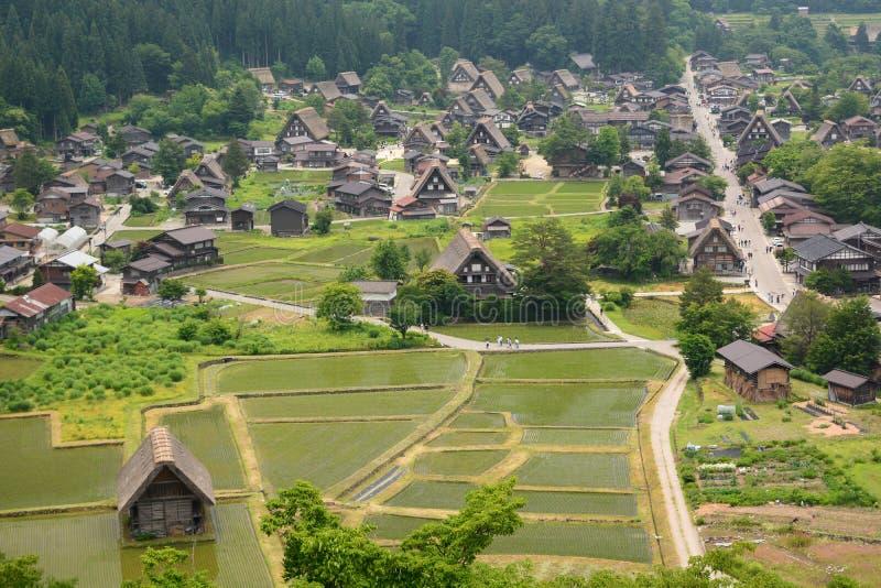 View from Castle observation deck. Shirakawa-go. Gifu prefecture. Chubu. Japan stock photo