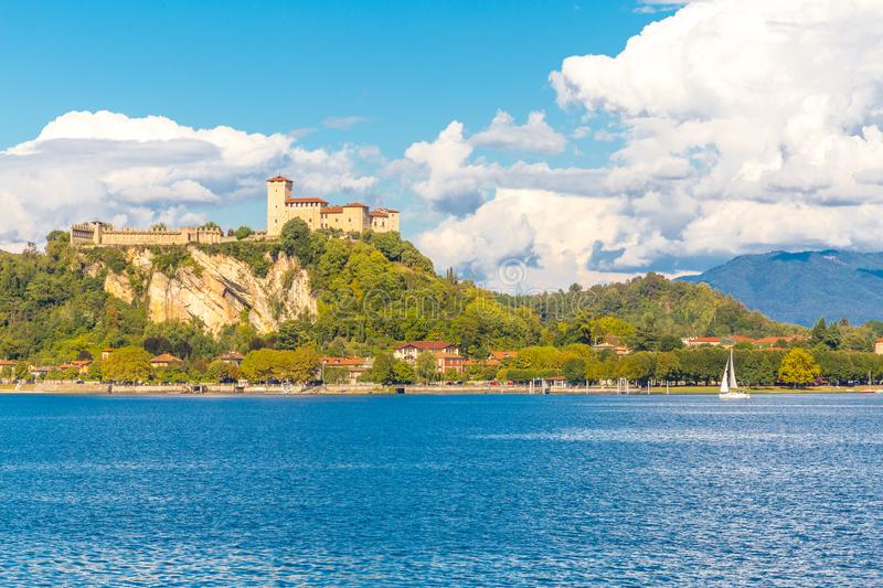 Castle Angera lake maggiore Lombardy, italy. View of Castle and Rocca of Angera in front of Arona, on Lake Maggiore, Lombardy, Italy stock photo
