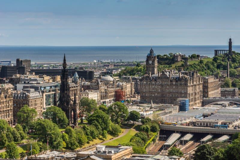 View from Castle towards North Sea, Edinburgh, Scotland. stock photos