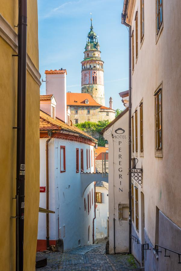 View at the Castle Tower in the streets of Cesky Krumlov - Czech Republic stock photos