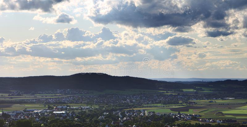 View from castle Wolfstein on Neumarkt in der Oberpfalz, Rittershof and Poelling royalty free stock photos
