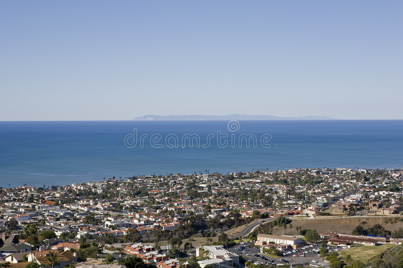 View of Catalina taken from San Clemente. A view of Catalina on a clear day taken from the hills in San Clemente royalty free stock photography