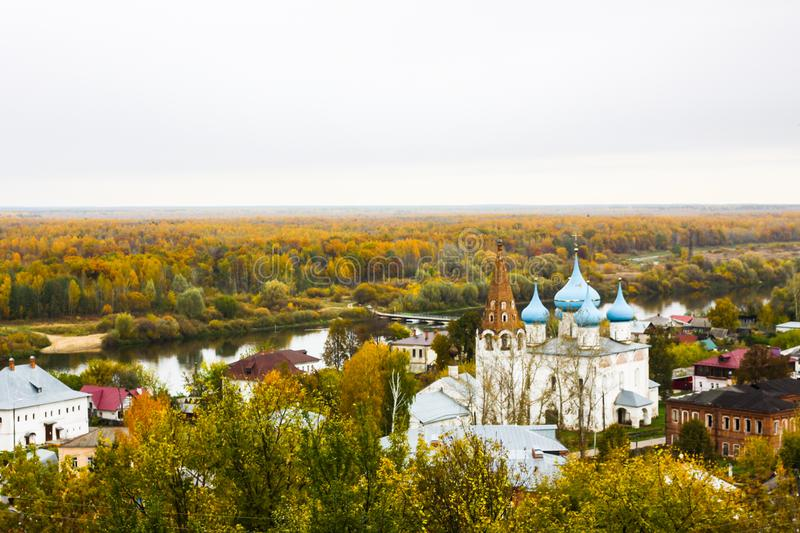 View of the Cathedral of the Annunciation on the right bank of the River Klyazma. Gorokhovets. Vladimir oblast, Russia royalty free stock photos