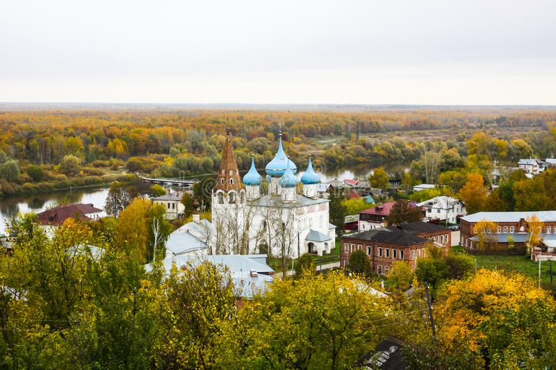 View of the Cathedral of the Annunciation on the right bank of the River Klyazma. Gorokhovets. Vladimir oblast, Russia stock photo