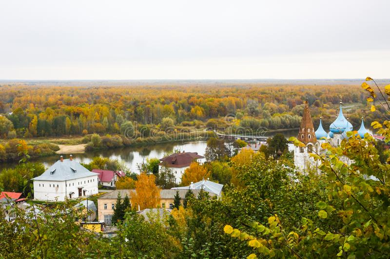 View of the Cathedral of the Annunciation on the right bank of the River Klyazma. Gorokhovets. Vladimir oblast, Russia royalty free stock images