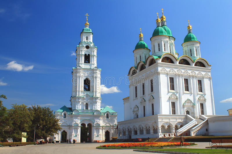 View of the Cathedral bell-tower in Astrakhan. View of the Cathedral bell-tower with Prechistenskaya the gate and the assumption Cathedral in Astrakhan royalty free stock photo