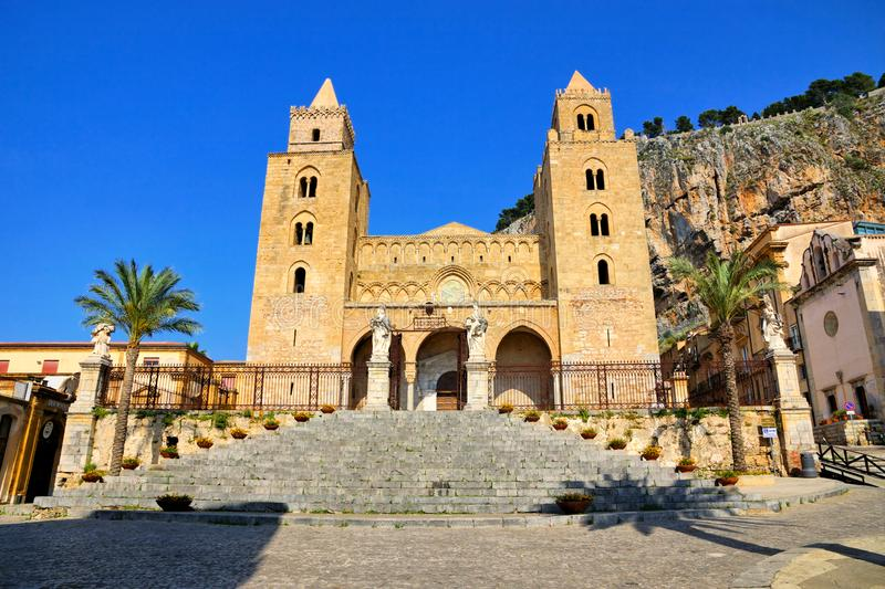 View of the Cathedral of Cefalu, Sicily, Italy during summer stock photo