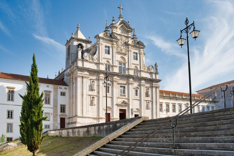 View Of The Cathedral In Coimbra Portugal stock images