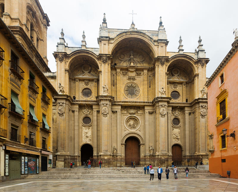 View of Cathedral of the Incarnation at Granada. Spain royalty free stock photo