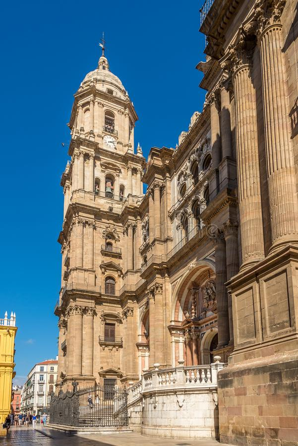 View at the Cathedral of Incarnation in Malaga - Spain royalty free stock images